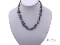 Classic 4x16mm Peacock Blue and Grey Round Freshwater Pearl Necklace