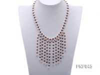 5-7mm White Freshwater Pearl and Purple Faceted Crystal Beads Necklace