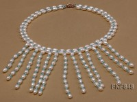 5-7mm White Rice-shaped Freshwater Pearl and 4-5mm Blue Crystal Beads Necklace