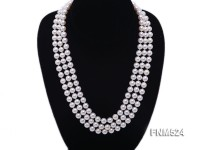 7-8mm 3 strand white round freshwater pearl necklace wiht cameo clasp