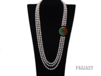 3 strand white round seawater pearl necklace with jade clasp