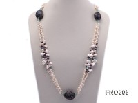 5.5-6.5mm natural white side-drilled freshwater pearl with fluorite and garnet opera necklace