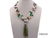 white biwa freshwater pearl with white shell and crystal chips opera necklace