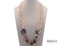 6*8mm natural white side-drilled freshwater pearl with cirtine and agate opera necklace