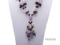 5-6mm natural white rice pearl with rice red agate and amethyst necklace