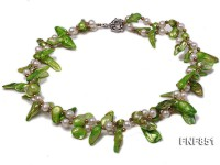 2 strands white round and green tooth-shaped freshwater pearl necklace