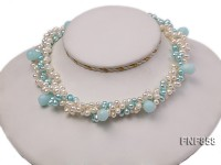 Three-strand White and Blue Freshwater Pearl Necklace with Blue Drop-shaped Stone Beads
