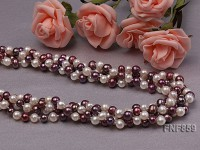 Three-strand White and Purple Freshwater Pearl Necklace