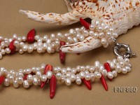 Three-strand White Freshwater Pearl and Red Coral Sticks Necklace