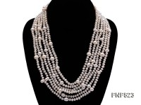 6 strand white freshwater pearl necklace with sterling sliver clasp