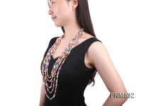 5 strands 7-8mm colorful freshwater pearl necklace