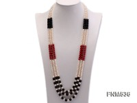 3 strand freshwater pearl,red coral and agate necklace
