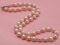 6-7mm White Freshwater Pearl & Pink Coral Beads Necklace and Bracelet Set