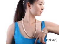 White Freshwater Pearl Necklace and Bracelet Set