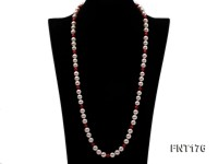 8-9mm White Freshwater Pearl & 6-6.5mm Red Coral Beads Necklace and Bracelet Set