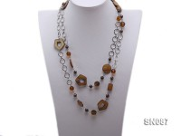 Two-row Shell, Freshwater Pearl and Crystal Necklace