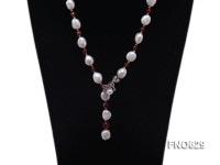 11*13mm natural white baroque freshwater pearl with red agate necklace