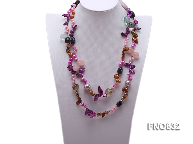 7-9mm freshwater pearl with pink crystal and tiger eyes crystal necklace