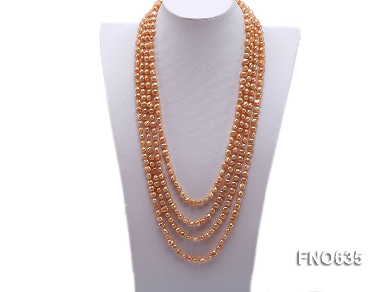 7-8mm orange flat freshwater pearl necklace