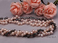 1 strands pink,1 strands lavender and 1 strand peacock green 3 7 hole freshwater pearl necklace
