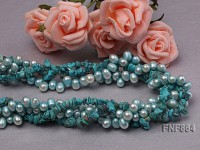 2 strands bule freshwater pearl and 2 strand turquoise gravely necklace