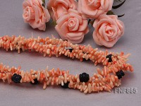 Three-strand 10mm Pink Coral Sticks & Flower-shaped Blue Sandstone Necklace