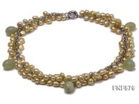 Lemon Freshwater Pearl and Light-green Jade Beads Necklace