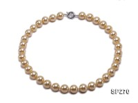 14mm golden round seashell pearl necklace