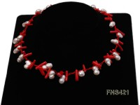 natural white baroque freshwater pearl with red coral single strand necklace