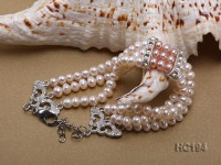 3 strand 4.5-5mm white and lavender freshwater pearl bracelet