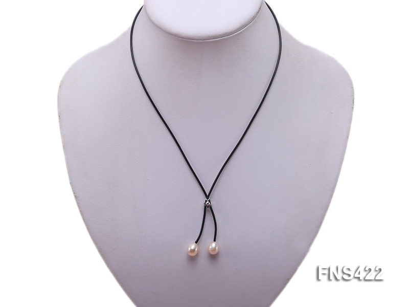 natural 7-8mm pink rice freshwater pearl with black leather rope necklace