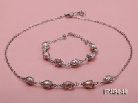 Gold-plated Metal Chain Necklace, Bracelet and Earrings Set with Freshwater Pearl