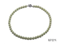 8mm light green round seashell pearl necklace