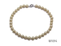12mm light golden round seashell pearl necklace