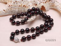 Natural 10mm Round Garnet Necklace