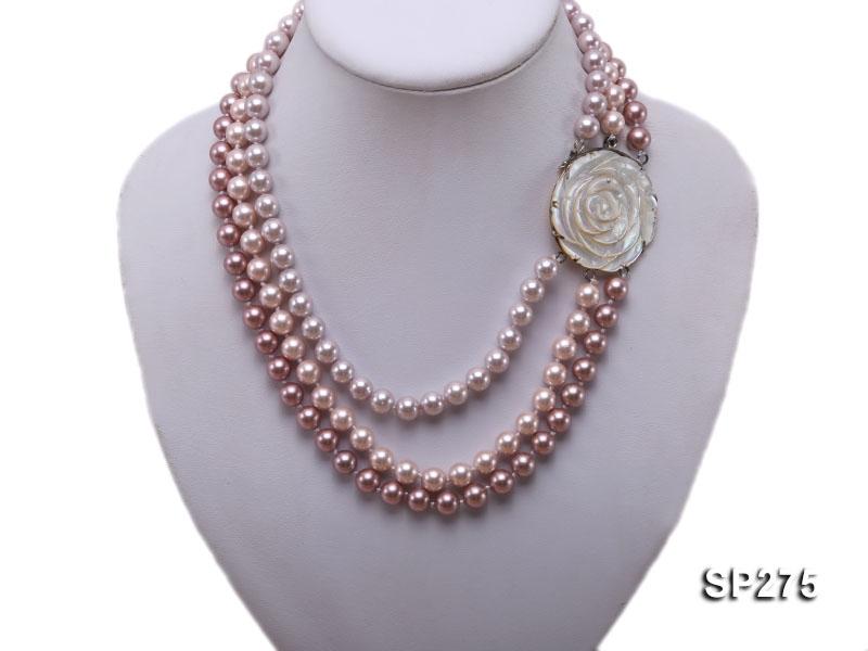 8mm round multi-color seashell pearl three-strand necklace