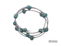 8mm light blue turquoise and 3mm small steel beads bracelet