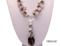 14mm white round tradicna with rose quartz and white crystal opera necklace