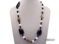 14mm natural white round tridacna with carved black agate and tiger eyes crystal opera necklace