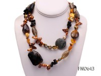 8*14mm coffee pearl coral and shell opera necklace
