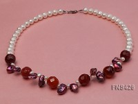 Natural 7-8mm white freshwater pearl with red agate and keshi pearl necklace