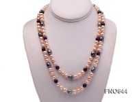 7-8mm natural pink round freshwater pearl with 8mm round carved amethyst opera necklace