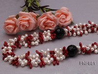 Three-strand 6-7mm White Freshwater Pearl and 4x10mm Coral Beads Necklace with Agate Beads