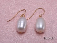 8x12mm White Drop-shaped Cultured Freshwater Pearl Earrings