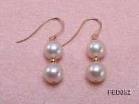 7mm White Round Cultured Freshwater Pearl Earrings