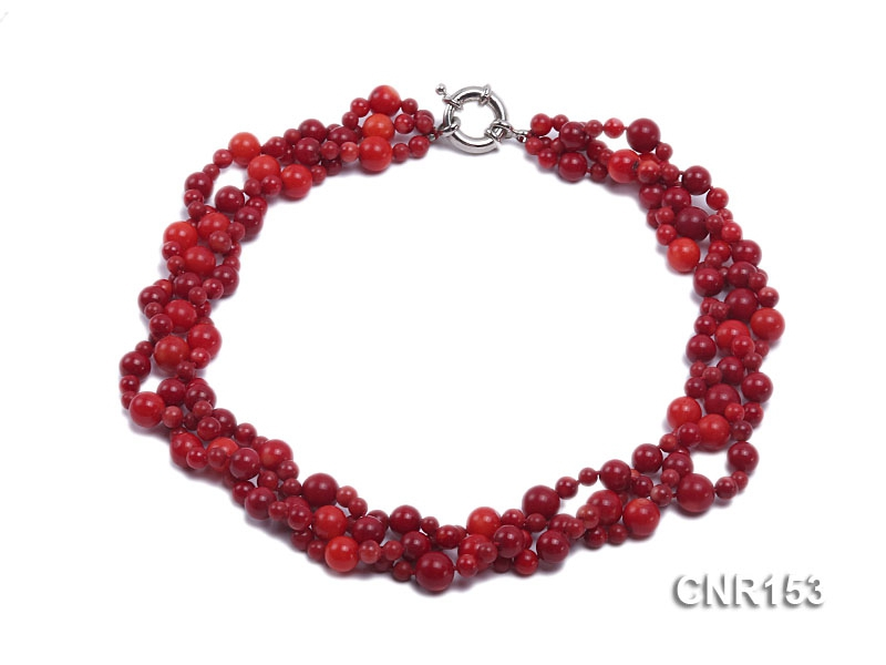 4.5-10mm Round Red Coral Three-Strand Necklace