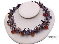 Freshwater Pearl, Purple Crystal Chips and Drop-shaped Agate Beads Necklace