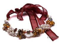 Freshwater Pearl and Seashell Pearl Necklace with a Shell Flower