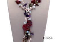 11*12mm white freshwater pearl with moonstone amethyst and white crystal opera necklace