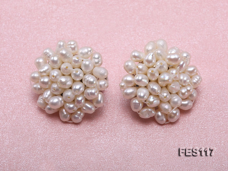 3x4mm White Rice-shaped Cultured Freshwater Pearl Clip-on Earrings